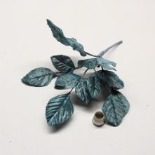 Vintage Teal Blue Velvet Rose Leaves